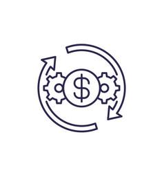 Cost effective optimization efficiency line icon vector