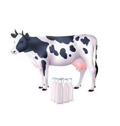 Cow And Milk Bottles vector