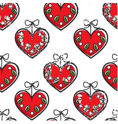 croatian heart souvenir with flowers seamless vector image