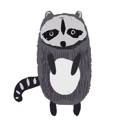 Cute childish striped gray raccoon vector