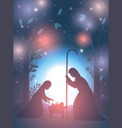 Cute holy family manger characters vector
