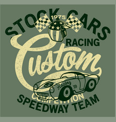 Cute stock cars racing team vector