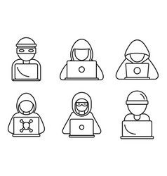 Cyber hacker icons set outline style vector
