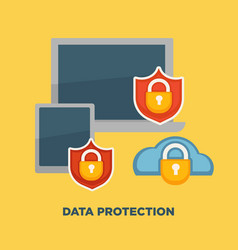 Data protection folder lock on internet security vector
