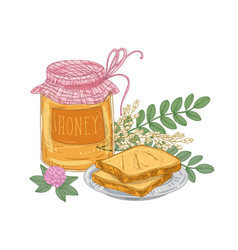 Decorative composition with jar of sweet honey vector