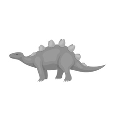 Dinosaur stegosaurus icon in monochrome style vector