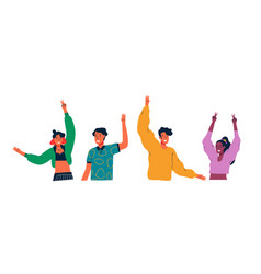 diverse colorful young people isolated vector image