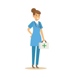 Female doctor character in a blue uniform standing vector