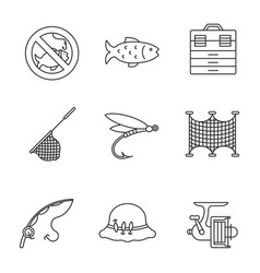 Fishing linear icons set vector