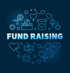 fund raising round blue outline vector image