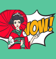 Geisha japanese woman pop art stylewow eps 10 vector