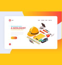 Geologist website page design vector