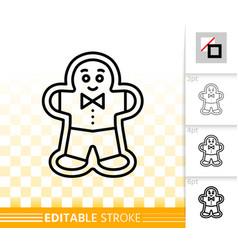 gingerbread cookie men black line icon vector image