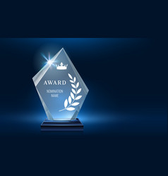 Glass trophy award shining with light realistic vector