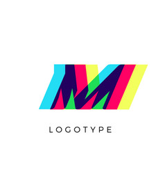 glitch effect letter m colored spectrum overlay vector image
