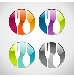 Gourmet glossy web button icons set vector
