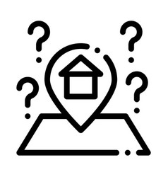 Gps mark with house icon outline vector