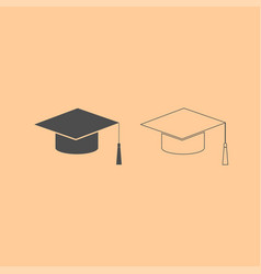 graduation cap dark grey set icon vector image