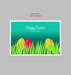 Greeting card with easter eggs in the grass vector