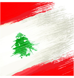 grunge background in colors of lebanese flag vector image