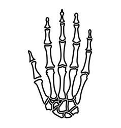 hand bone icon black color flat style simple image vector image