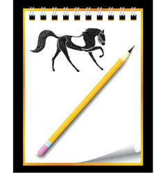 hand drawn horse in notebook vector image