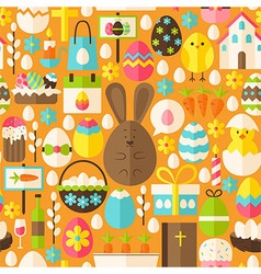happy easter holiday flat orange seamless pattern vector image