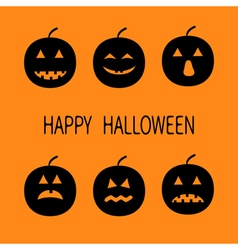 Happy Halloween Six black silhouette funny smiling vector image