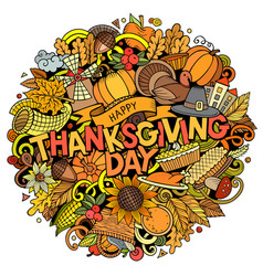Happy thanksgiving hand drawn cartoon doodles vector