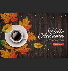 hello autumn fall season sale and discounts vector image