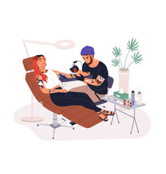 hipster guy tattoo master at work vector image