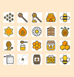honey farm icon set vector image