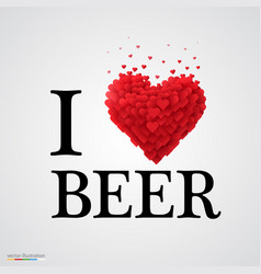 I love beer heart sign vector