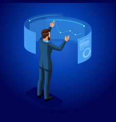 isometric businessman with gadgets vector image