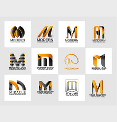 letter m logo collection corporate identity logo vector image