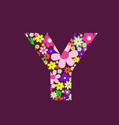 letter of beautiful flowers y vector image