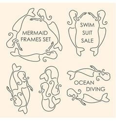 Line art mermaids logo set on beige background vector