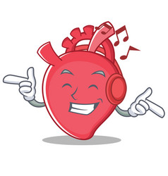 Listening music heart character cartoon style vector