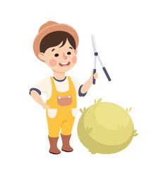 Little boy with pruner cutting bush representing vector