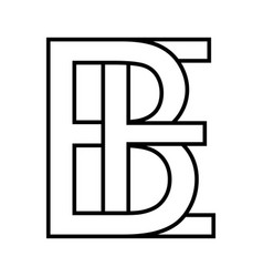 logo sign be eb icon sign interlaced letters b e vector image
