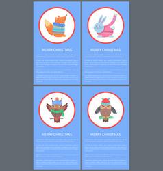 Merry christmas colorful congratulation postcard vector