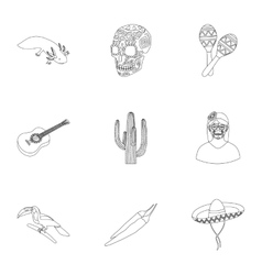 Mexico country set icons in outline style Big vector image