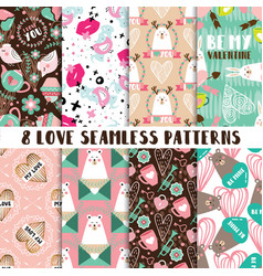 modern set cute seamless patterns vector image