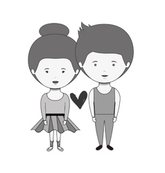 monochrome couple dressed ballet costume in love vector image