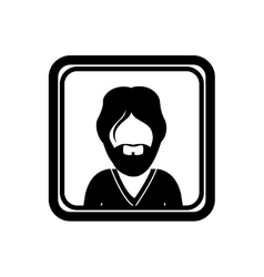 monochrome square with half body man with beard vector image