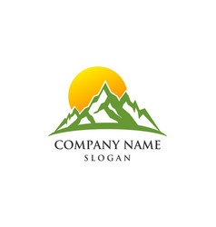 mountain sun rise logo vector image