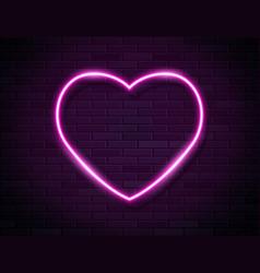neon pink glowing heart banner on dark empty vector image