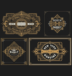 old cards set with floral details vector image