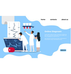 Online diagnostic landing page medical tests and vector