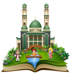 open book with happy muslim kids cartoon playing i vector image